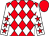 Red and white diamonds, white sleeves, red stars, red cap (32red Plc)