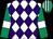 White & purple diamonds, emerald green sleeves, white armlet, emerald green & white striped cap (Ms G C Murphy)