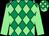 Emerald green & light green diamonds, light green sleeves, check cap (Patrick Convery)