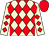 Beige and red diamonds, red cap (Fortnum Racing)