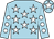 Light blue, white stars, light blue sleeves, white spots, light blue cap, white star (Mr T Reid)