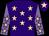 Purple, pink stars, mauve sleeves, pink stars, purple cap, pink star (Mrs June Watts)