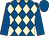 Royal blue and beige diamonds, royal blue sleeves and cap (Corinthian Racing Club)