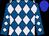 Royal blue and lavender diamonds, blue cap (Morris Bailey)