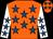 Orange, royal blue stars, white sleeves, royal blue stars (Bearstone Stud Ltd & Mr J Stimpson)