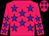 Rose body, blue stars, rose arms, blue stars, rose cap, blue stars (Gl Ferron)