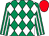 Emerald green and white diamonds, striped sleeves, red cap (Mr R A Pegum)