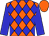Orange, blue diamonds, blue sleeves, orange cap (Domino Enterprises Inc)