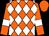 Orange, white diamonds, white bars on sleeves, orange cap (Gary Snoonian)