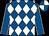 Royal blue and white diamonds, royal blue sleeves, white seams, quartered cap (Mr A C Whillans)