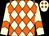 Cream & orange diamonds, orange chevron on cream sleeves and cap (Wong Wa Hong)