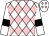 White, pink diamonds, black bars on sleeves (Patrick Rhodes)