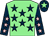 Light green, dark blue stars, dark blue sleeves, pink stars, dark blue cap, light green star (Leaveitouthorse Syndicate)