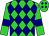 Lime green, navy blue diamonds, navy blue bars on sleeves (Donald Schrage)