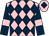 Pink and dark blue diamonds, dark blue sleeves, pink armlets, pink cap, dark blue diamond (Mr Dewhurst & Mr Swansbury)
