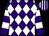 Purple & white diamonds, hooped sleeves, striped cap (Mrs Bernadette Colleary)