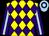 Yellow and purple diamonds, light blue stripe on purple sleeves, purple hoop on light blue cap (Jamie Cheng Po Kwan)