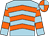 Light blue, orange chevrons, hooped sleeves, orange and light blue quartered cap (Mrs S B Porteous)