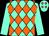 Aqua and orange diamonds, aqua sleeves, two orange hoops (Gold Bear Farm)