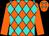 Orange and turquoise diamonds, orange sleeves (Gabrielle Farm)