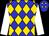 Blue and gold diamonds, white sleeves (Mrs S De Nobrega, Messrs B R Nel & G R Puller)