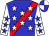 Blue, red sash, white stars, blue stars on white sleeves, blue and white quartered cap (Deakins, Lawrence R And Deakins, Irene)