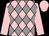 Pink & grey diamonds, pink sleeves & cap (T Egan)