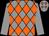 Grey and orange diamonds, grey sleeves (Mr D V Stevens)