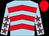 Light blue, red chevrons, light blue sleeves, red stars, red cap (Mr P Clacher)