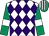White & purple diamonds, emerald green sleeves, white armlet, emerald green & white striped cap (Ms G C Murphy)