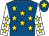 Royal blue, yellow stars, white sleeves, yellow stars, royal blue cap, yellow star (Fpr Yorkshire Syndicate)
