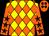 Yellow & orange diamonds, brown stars on orange sleeves, brown spots on orange cap (Lee Yuen Fat & Ng Kam Ming)