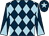 Dark blue and light blue diamonds, diabolo on sleeves, dark blue cap, light blue star (Colin Holder Racing)