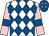 White and royal blue diamonds, pink sleeves, royal blue armlets, royal blue cap, pink diamonds (M Short, T Moore, G Kelleway, D Johnso)