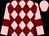 Pink and maroon diamonds, pink sleeves, maroon armlets, pink cap (Miss Joanna Needham)
