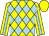 Yellow and light blue diamonds, light blue stripe on yellow sleeves, yellow cap (Henry Shun)
