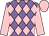 Mauve and pink checked diamonds, pink sleeves and cap (Messrs J Sarkis & D C Howells)
