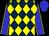 Dark blue and yellow diamonds, blue sleeves, yellow seams, blue cap (Natalie Baffert)
