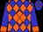 Blue, orange diamond, orange diamonds and cuff on blue sleeves (Pleasanton Arabian Racing Club)