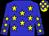 Big-blue body, yellow stars, big-blue arms, yellow stars, yellow cap, big-blue checked (K Plisson)