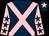 Dark blue, pink cross belts, pink sleeves, dark blue stars, dark blue cap, pink star (Bawtry Racing Club)