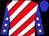 Red, white diagonal stripes, white stars on blue sleeves, blue cap (Usa Thoroughbreds)