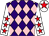 Purple and pink diamonds, white sleeves, red stars, white cap, red star (Harlequin Direct Ltd & Mr D Bloy)