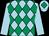 Light blue and emerald green diamonds, light blue sleeves, light blue cap, emerald green diamond (Mrs Tilly Coles)