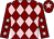 Maroon and pink diamonds, maroon sleeves, pink stars, maroon cap, pink star (Mrs J A Niven & Angus Racing Club)
