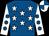 Royal blue, white stars, white sleeves, royal blue spots, quartered cap (Mr A Killoran & Partners)