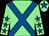 Light green, royal blue cross belts, light green sleeves, royal blue stars, light green cap, royal blue star (Dbac Syndicate)