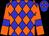 Blue, orange diamonds, blue bars on orange sleeves (Ownthetail Llc)