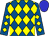Royal blue, yellow diamonds, blue cap (All Schlaich Stables Llc, C T R Stables Llc, Gatto Racing Llc, Hollendorfer Llc)