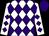 White, purple diamonds, purple cap (Bonnie Peltier)